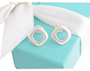 Tiffany & Co. Tiffany&Co Sterling Silver Square Cushion Cut Stud Earrings