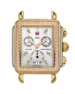 Michele Michele Signature Deco Diamond Tri-Tone, Diamond Dial Watch Head
