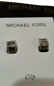 Michael Kors Michael Kors MK Monogram Signature Logo Silver Tone Pave Glitz Huggie Clip Earrings NEW WITH POUCH