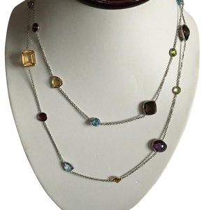 14k genuine multicolor necklace bezel set multicolor stone necklace