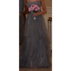David's Bridal Gray/Silver Formal Bridesmaid/Mob Dress Size 4 (S)