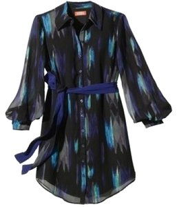 Kirna Zabete Paint Belted Tunic Flowy Ikat Dress