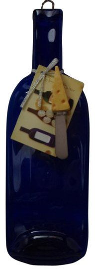 Blue Glass Cheese Platter Barware