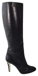 Jimmy Choo Leather Gold Hardware Black Boots