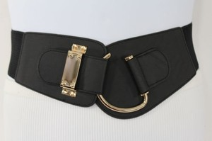 Other Women Elastic Waistband Belt Black Gold Hip High Waist Metal Hook Buckle