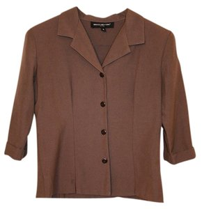 Briggs Brown Jacket Office Cuff 3/4 Three-quarter Short Dark Brown Chocolate Business Chocolate Brown Blazer
