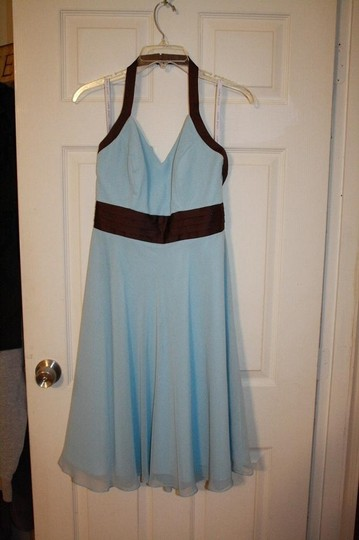 Alfred Angelo Robin's Egg/Brown Polyester/Cotton 7063 Retro Bridesmaid/Mob Dress Size 4 (S)