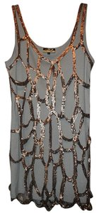 LaROK Tattered Metallic Sequin Overlay Dress