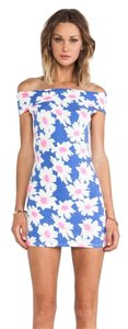 Lucca Couture short dress Light Blue Floral Lc Mini Boat Neck on Tradesy
