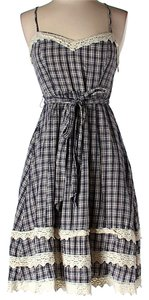 Moulinette Soeurs short dress Blue & Ivory Gingham Lace Trim on Tradesy