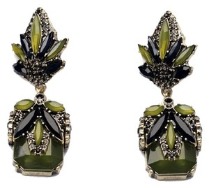Olive Green and Black Stone Statement Earrings