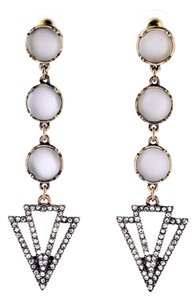 White Stone Pave Drop Earrings