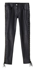 Isabel Marant Leather Leather Lace Up Skinny Pants Black