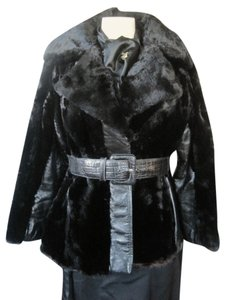 Other Midcentury Mod Wide Collar Glam Rock Beaver Fur Leather Jacket