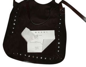 Marni Suede Stylish Shopping Brand New Made In Italy Crossbody Silver Studded Tote in Brown