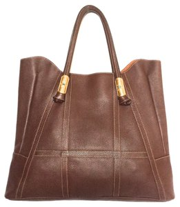 Valentino Brown Satchel Shopping Tote in Chestnut Brown