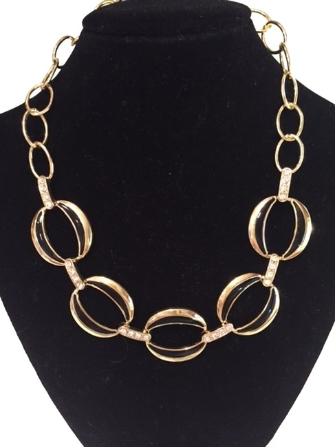 Item - Gold and Black with Faux Diamonds Necklace