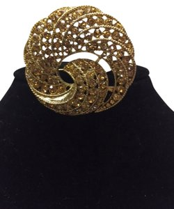Charter Club Gold Brooch with Faux Diamond Stones
