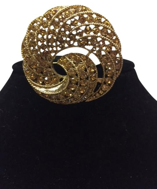 Item - Gold with Gold Diamonds Stones Brooch Faux