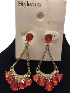 Style & Co Faux Diamond and light orange red coral stones