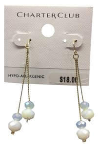 Charter Club Gold and White Earrings
