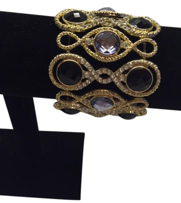 Item - Gold Black Diamonds Light Purple New Gold-tone Jet and Pave Stretch You Will Not Find This One. Bracelet
