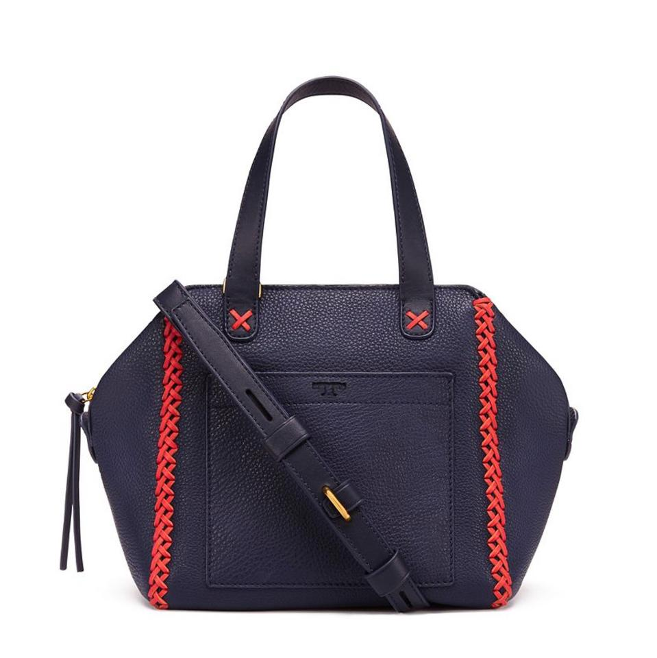 b5023cf4bcf Tory Burch Whipstitch Mini Navy Leather Satchel - Tradesy