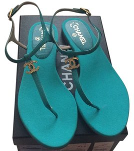Chanel Teal green Sandals