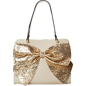 Betsey Johnson Sparkle Glam Satchel in Cream with Gold Sequin Bow