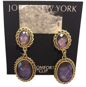 Jones New York Jones of New York Purple Earrings, Clip Earrings