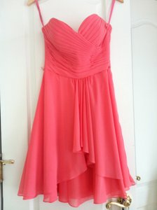 Mori Lee Cantaloupe / Coral Chiffon with Satin Tie Sash 31013 Feminine Bridesmaid/Mob Dress Size 8 (M)