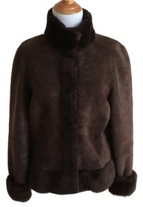 Tory Burch Russian Cossack Shearling Suede Leather Fur Coat
