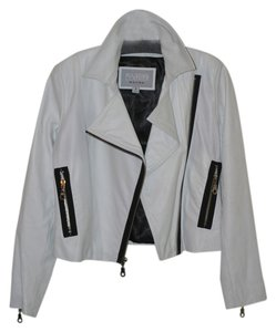 Wilsons Leather Crop Motorcycle White with black trim Leather Jacket