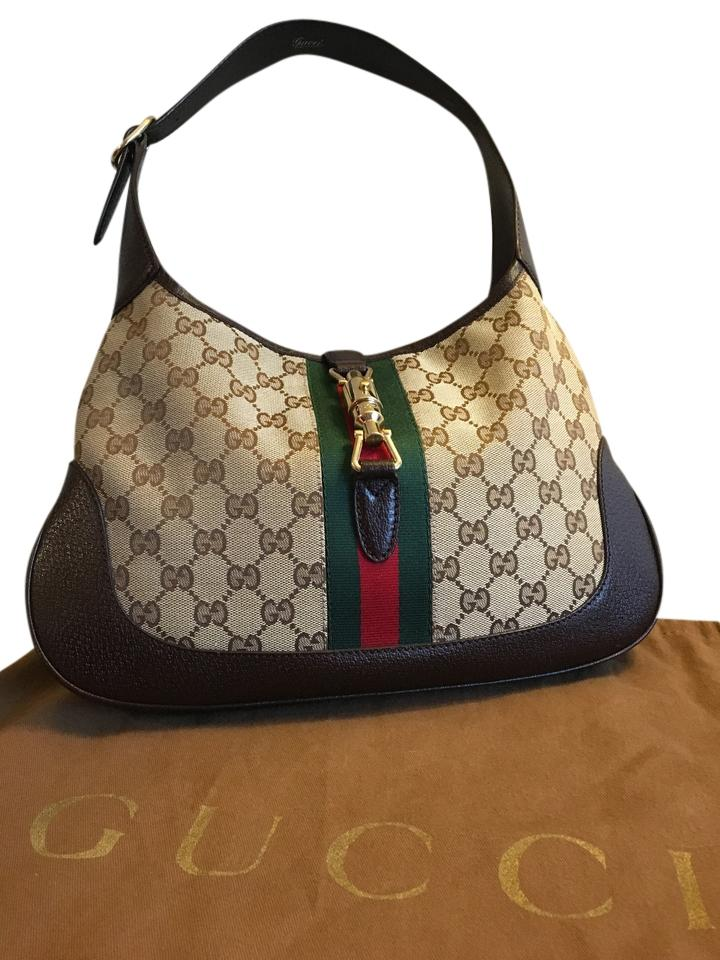 5fa74623b709 Gucci Jackie O Iconic Gg Dark Brown W/ Beige Leather and Canvas Shoulder Bag