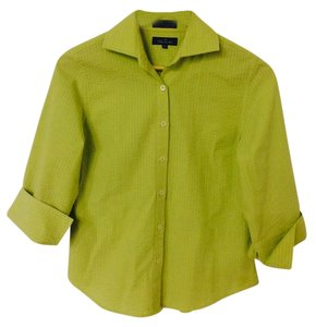 Faonnable 3/4 Sleeve Button Down Shirt Lime green