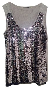 Elie Tahari Elite Holiday Sparkles Top Grey Modal tank with Silver sequins
