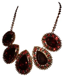 Style & Co Ruby Red Crystal tear drop Pendant Statement Necklace On Gold Tone - Chunky Bib Necklace