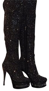 Pleaser Black suede, Pewter chrome with sparkly rhinestone Boots