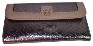 Guess Guess wallet metallic pewter clutch 4 G's continental