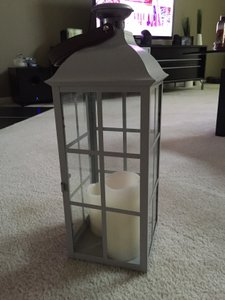 Old Time Pottery Grey 12 Lanterns W/Led Candles Centerpiece