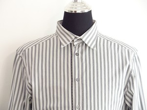 Dolce&Gabbana Men Grey Stripe Cotton Dress Shirt