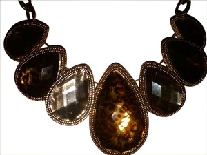 Style & Co Gold-Tone animal print- Leopard Graduated Stone Teardrop chunky statement Necklace