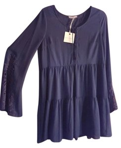 Blu Pepper short dress Navy Vintage Inspired Crochet Bell Sleeves Bohemian on Tradesy