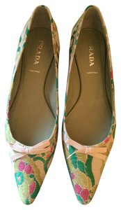 Prada Brocade Holiday Spring Resort Bow Perfect Condition Never Worn cream with kelly green, magenta ,chartreuse with gold outline Flats