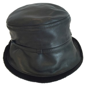 GIlly Forge London Gilly Forge London Black Leather & Faux Fur Hat