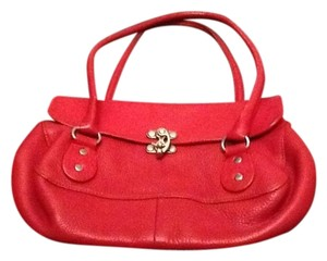 Cynthia Rowley Pebble-grained Rich Leather Hook Silver Hardware Closure Interior Is In Natural Leather Large Zippered Pocket Interior Satchel in Red