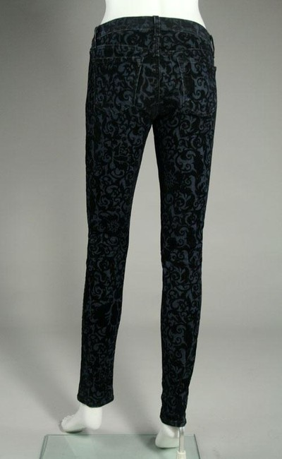 J Brand Skinny Pants Dark Blue w/Black Velvet