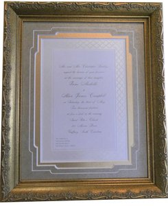 Gold Invitation with A Champagne Colored Rice Paper Mat and A Metallic Mat with An Easel Back Photo Frame