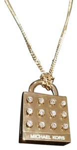 Michael Kors MICHAEL KORS Clear Studded Heritage Padlock Pendant Gold Tone Necklace NEW TAGS