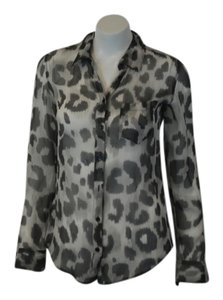 Equipment 100 Silk Animal Print Sheer Button Front Chic Top Gray